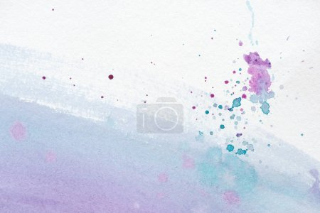 abstract background with violet and blue watercolor painting with splatters