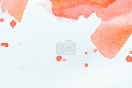 abstract red watercolor painting with strokes and splatters on white paper