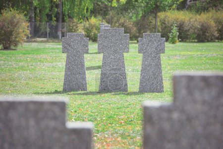 old gravestones placed in row on grass at graveyard