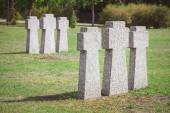 """Постер, картина, фотообои """"кладбище с идентичными старые надгробные Мемориал, помещены в строках"""""""
