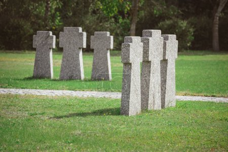 cemetery with identical old memorial headstones placed in rows