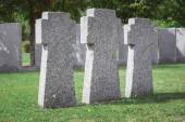 """Постер, картина, фотообои """"выборочный фокус мемориальный камень пересекает помещается в строке на кладбище"""""""
