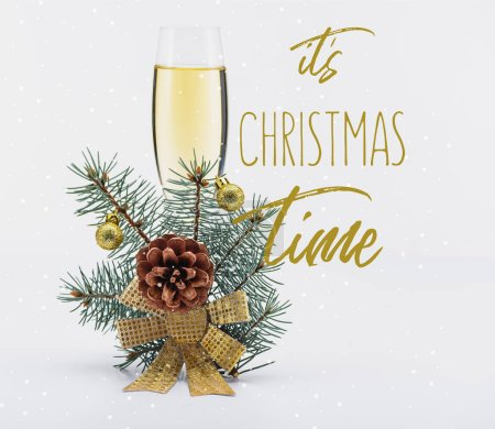 """glass of champagne with christmas decoration on white background with """"its christmas time"""" inspiration"""
