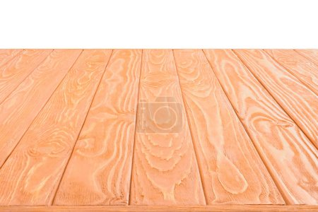 surface of orange wooden planks on white background
