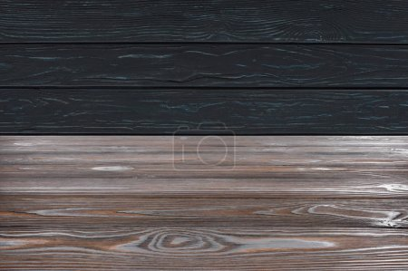 Photo for Template of brown wooden floor on black planks background - Royalty Free Image