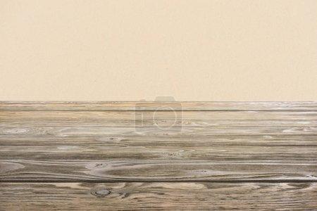 template of brown wooden floor on beige background