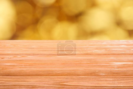 Photo for Template of orange wooden floor with blurred orange background - Royalty Free Image