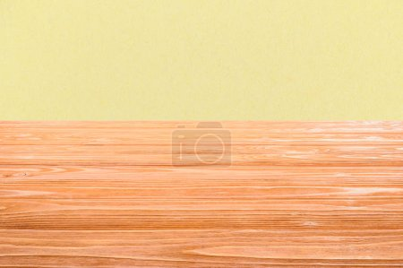 template of orange wooden floor with yellow background