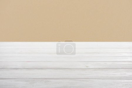 template of white wooden floor on dark beige background