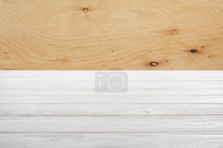 template of white wooden floor with plywood on background