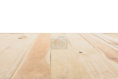 template of beige wooden floor made of planks on white background