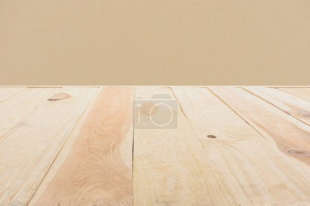 Photo for Template of beige wooden floor made of planks on dark beige background - Royalty Free Image