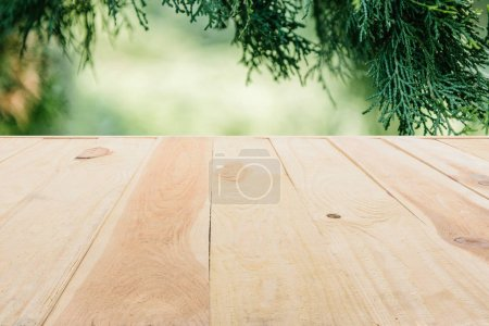 template of beige wooden floor made of planks on blurred green background with pine tree leaves