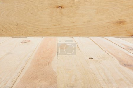 template of beige wooden floor made of planks on plywood background