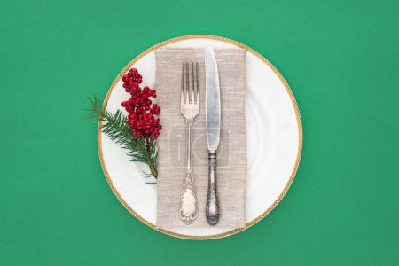 Photo for Top view of plate with fork, knife, evergreen branch and red berries on plate isolated on green - Royalty Free Image