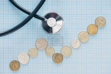 top view of arranged russian coins and stethoscope on blue checkered surface