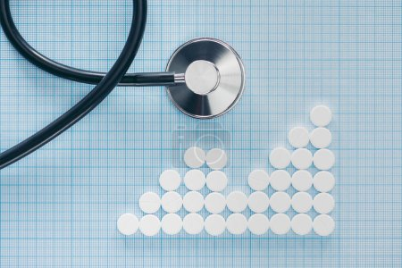 view from above of stethoscope and arranged white pills on blue checkered surface