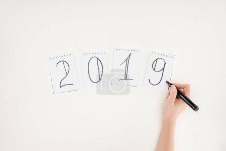Photo pour Vue partielle de femme écriture 2019 date avec marqueur isolé sur blanc - image libre de droit
