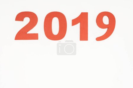 2019 date made of red numbers isolated on white