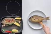 """Постер, картина, фотообои """"обрезанные wshot человеческой руки с деревянной посуды, приготовления вкусной жареной рыбы"""""""