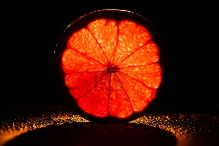 Photo for Slice of grapefruit with neon red backlit on black background - Royalty Free Image