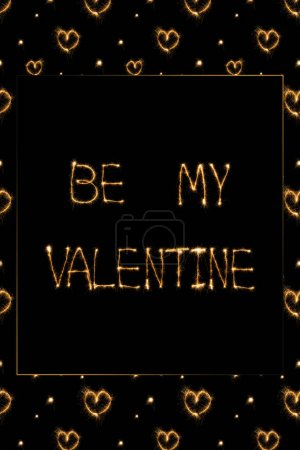 close up view of be my valentine light lettering and hearts on black background, st valentines day concept