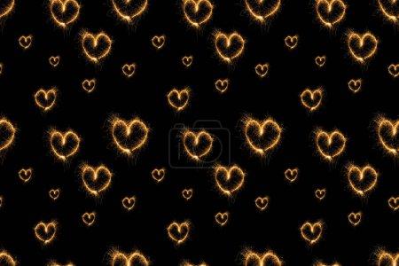 Photo pour Plein cadre de lumière coeurs signe disposés sur fond noir - image libre de droit