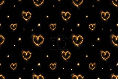 full frame of hearts light signs arranged on black background