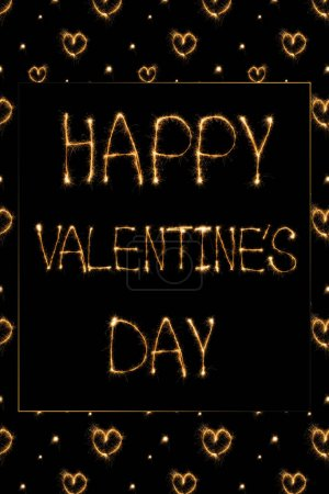 close up view of happy valentines day light lettering and hearts on black background, st valentines day concept