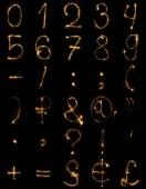 various light signs arranged on black backdrop