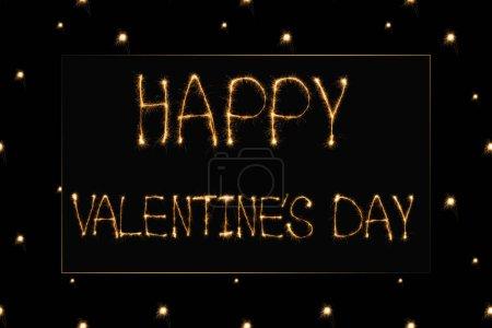 Photo pour Bouchent la vue de lumière de jour de valentines heureux lettrage sur fond noir, st Valentin concept - image libre de droit