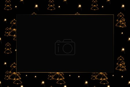 Photo for Full frame of fir tree light signs on black backdrop - Royalty Free Image