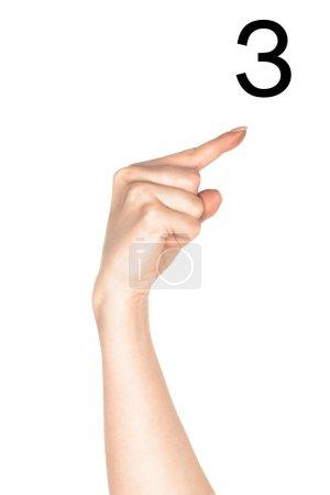 Photo pour Vue partielle de la lettre cyrillique de montrer une main féminine, langage sourd et muet, isolé sur blanc - image libre de droit