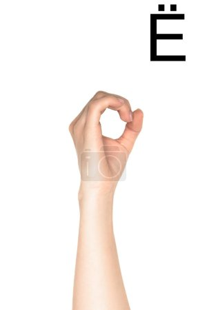 female hand showing cyrillic letter, sign language, isolated on white