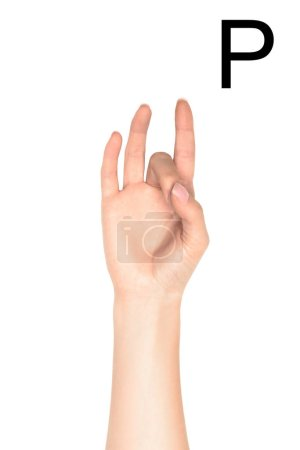 partial view of female hand showing cyrillic letter, deaf and dumb language, isolated on white