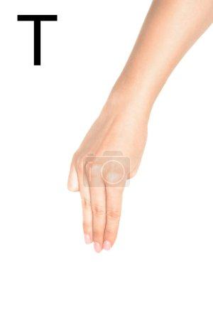 Photo pour Main femme montrant lettre cyrillique, langue des signes, isolé sur blanc - image libre de droit