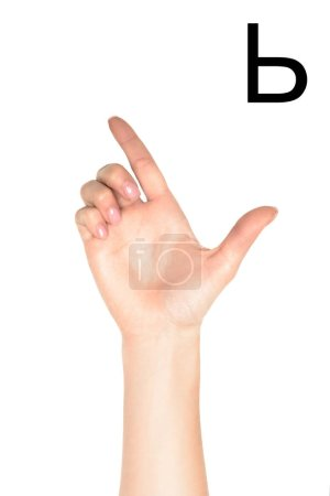 partial view of woman showing cyrillic letter, sign language, isolated on white