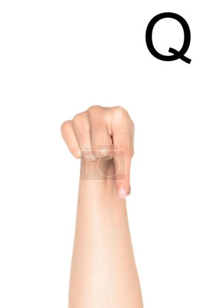cropped view of woman showing latin letter - Q, deaf and dumb language, isolated on white