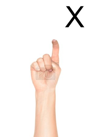 Photo for Cropped view of female hand showing latin letter - X, deaf and dumb language, isolated on white - Royalty Free Image