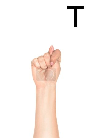 cropped view of female hand showing latin letter - T, deaf and dumb language, isolated on white