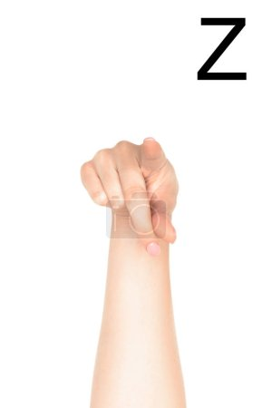 partial view of female hand showing latin letter - Z, deaf and dumb language, isolated on white