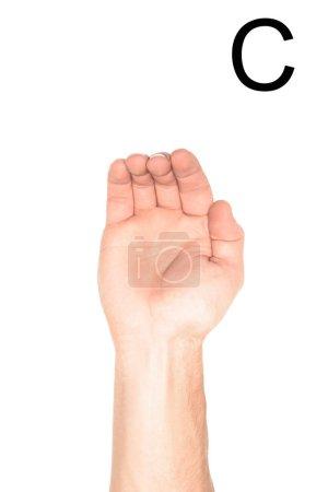 Foto de Vista recortada de hombre con letra - C, sordos y mudos lengua latina, aislado en blanco - Imagen libre de derechos