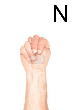 Photo pour Vue recadrée de main mâle montrant latine lettre - N, sourd et muet langage, isolé sur blanc - image libre de droit