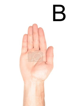 partial view of man showing cyrillic letter, sign language, isolated on white