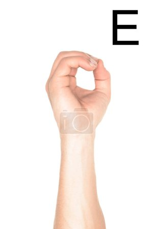 Photo for Cropped view of man showing cyrillic letter, deaf and dumb language, isolated on white - Royalty Free Image
