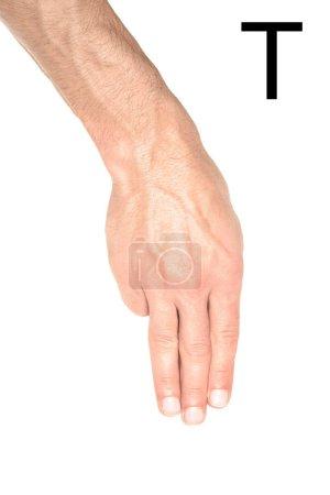Photo pour Vue recadrée de l'homme montrant la lettre cyrillique, langage sourd et muet, isolé sur blanc - image libre de droit