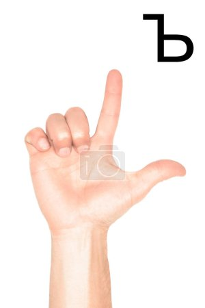 cropped view of male hand showing cyrillic alphabet, deaf and dumb language, isolated on white