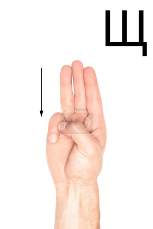 Photo for Deaf and dumb language with male hand and cyrillic alphabet, isolated on white - Royalty Free Image