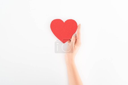 cropped shot of woman holding red heart symbol isolated on white, st valentine day concept