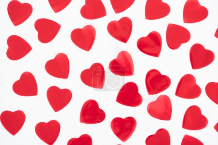 Photo for Top view of beautiful decorative red hearts isolated on white background - Royalty Free Image